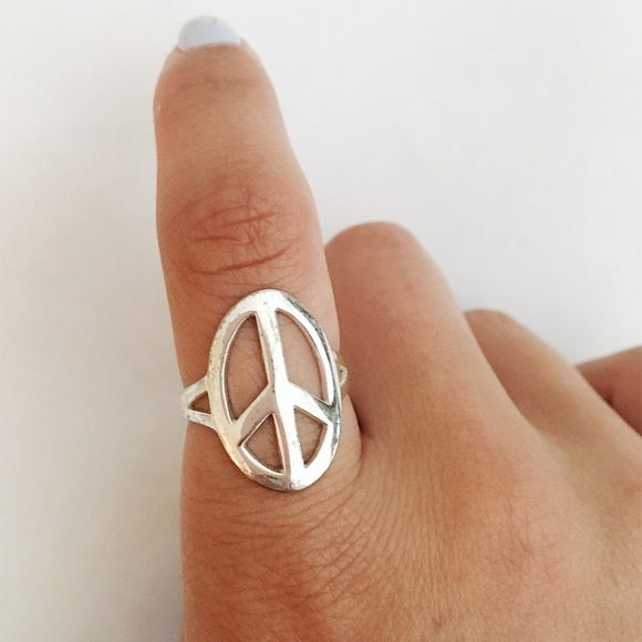 Vintage Sterling Silver Blue Opal Peace Sign Ring Size 8